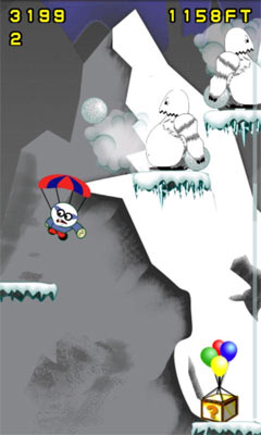 Parachute for Android mobile. Arcade game screen of a ice mountian level.